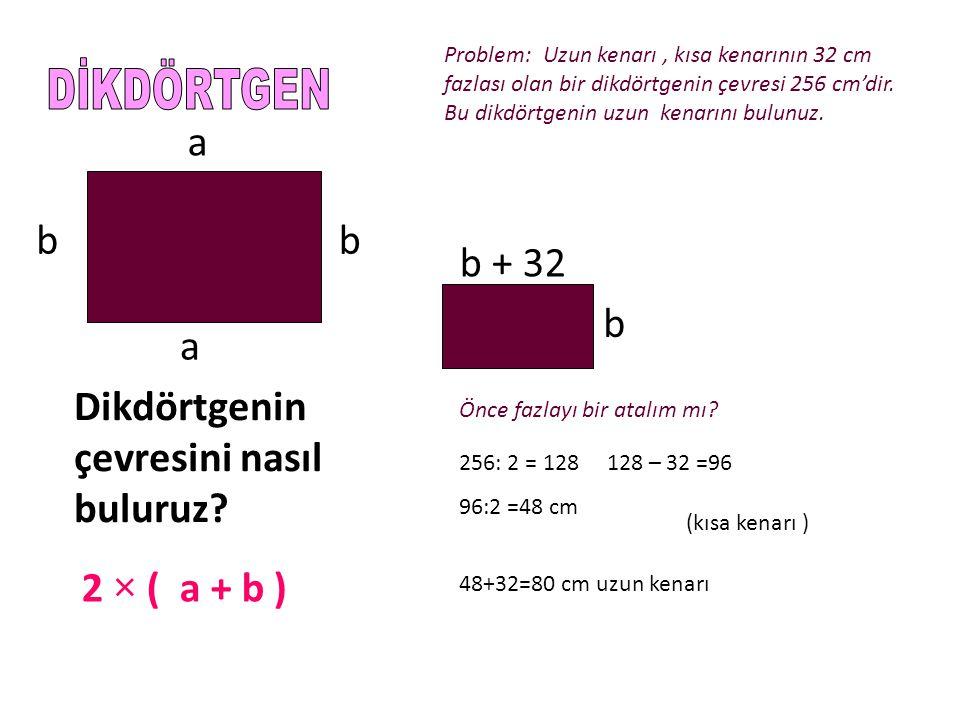 a a bb Dikdörtgenin çevresini nasıl buluruz? 2 × ( a + b ) Problem: Uzun kenarı, kısa kenarının 32 cm fazlası olan bir dikdörtgenin çevresi 256 cm'dir