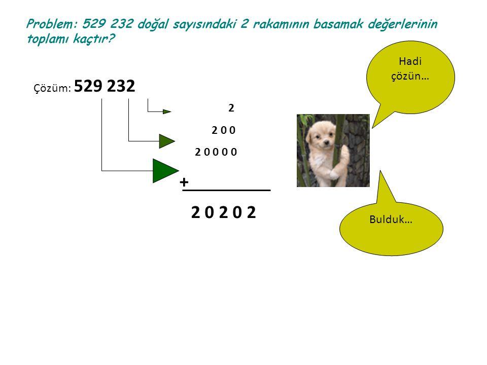 Problem: 529 232 doğal sayısındaki 2 rakamının basamak değerlerinin toplamı kaçtır? Hadi çözün… Çözüm: 529 232 2 2 0 0 2 0 0 0 0 + 2 0 2 0 2 Bulduk…