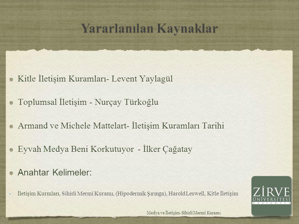 Kitle İletişim Kuramları- Levent Yaylagül Toplumsal İletişim - Nurçay Türkoğlu Armand ve Michele Mattelart- İletişim Kuramları Tarihi Eyvah Medya Beni