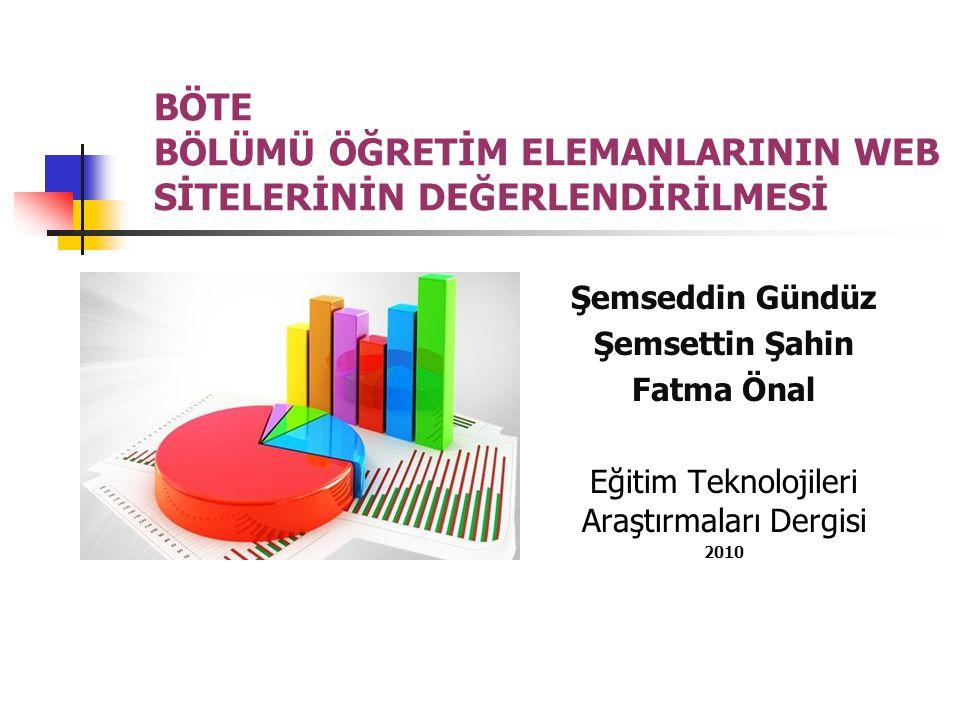Amaç Bu araştırmanın amacı, Bilgisayar ve Öğretim Teknolojileri Eğitimi bölümlerinde yer alan öğretim elemanlarının web sitelerinin değerlendirilmesidir.