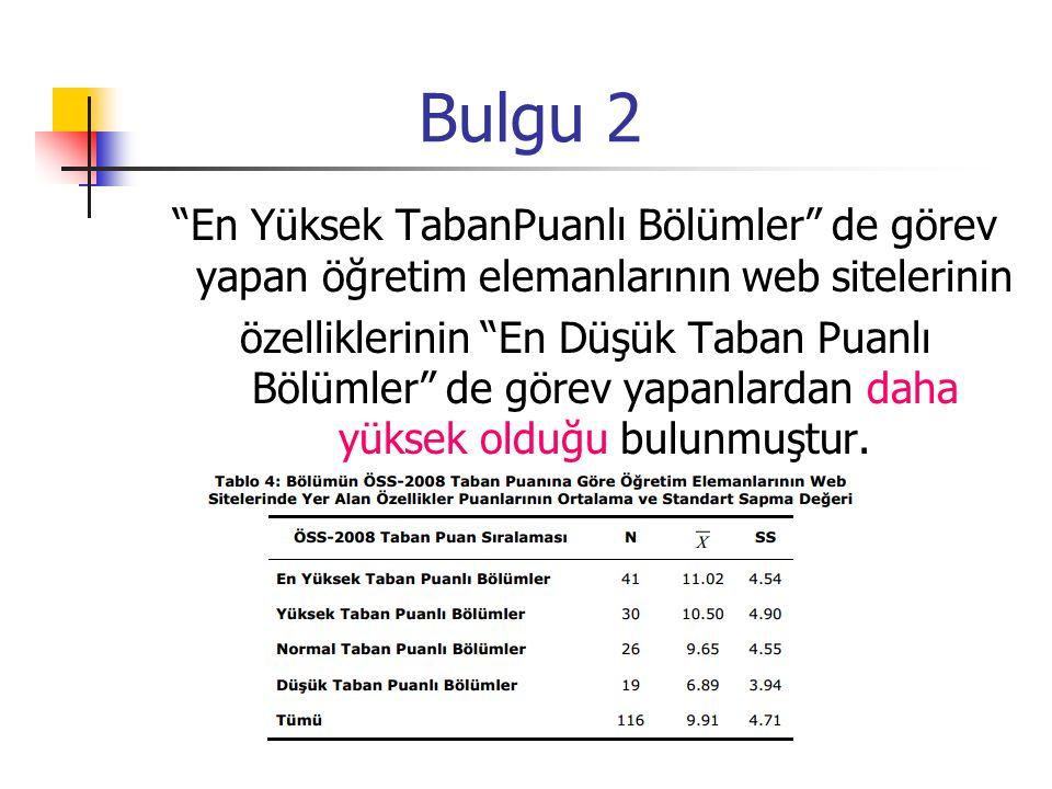 """Bulgu 2 """"En Yüksek TabanPuanlı Bölümler"""" de görev yapan öğretim elemanlarının web sitelerinin özelliklerinin """"En Düşük Taban Puanlı Bölümler"""" de görev"""