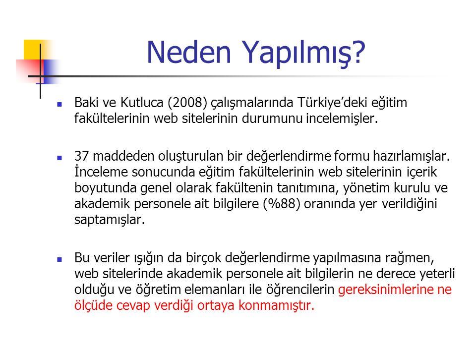 Neden Yapılmış? Baki ve Kutluca (2008) çalışmalarında Türkiye'deki eğitim fakültelerinin web sitelerinin durumunu incelemişler. 37 maddeden oluşturula