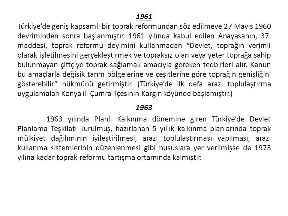 1961 Türkiye'de geniş kapsamlı bir toprak reformundan söz edilmeye 27 Mayıs 1960 devriminden sonra başlanmıştır.