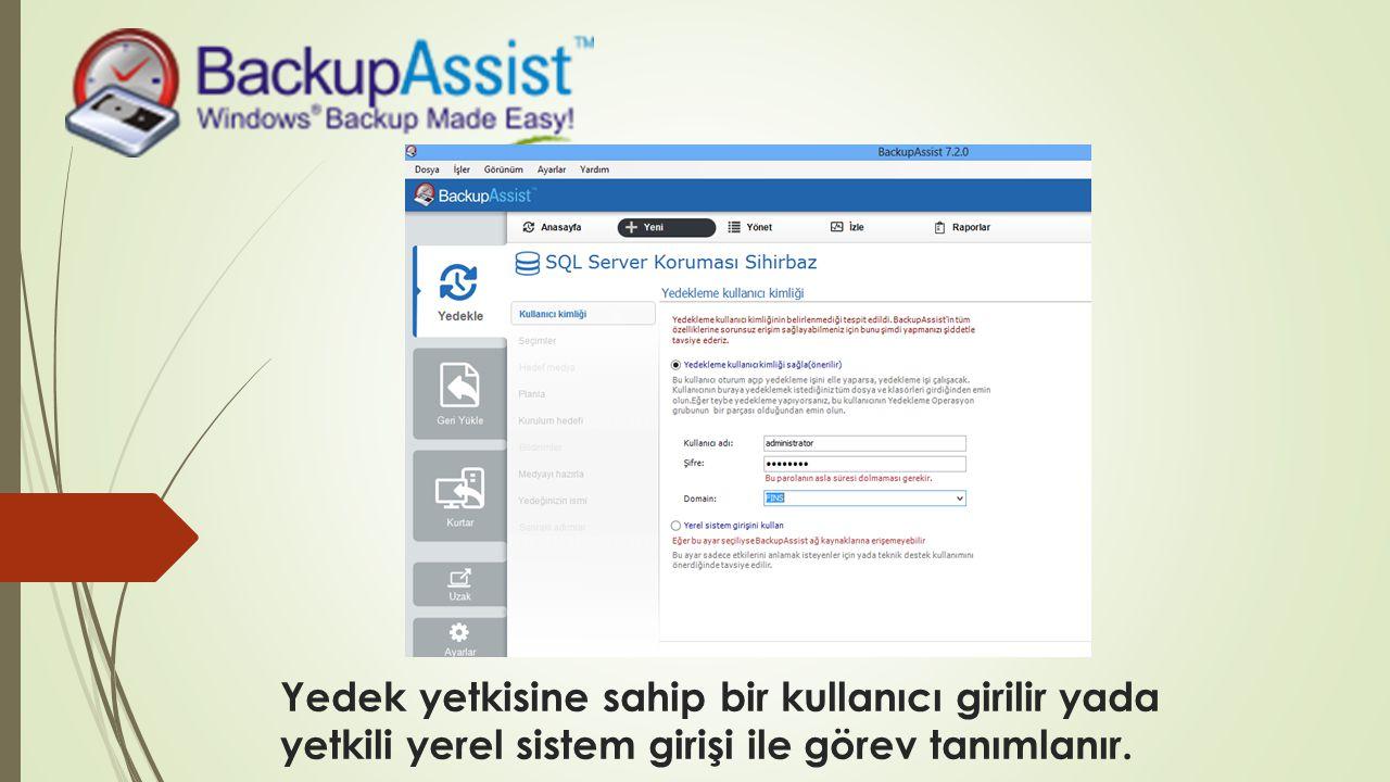 Yedek yetkisine sahip bir kullanıcı girilir yada yetkili yerel sistem girişi ile görev tanımlanır.
