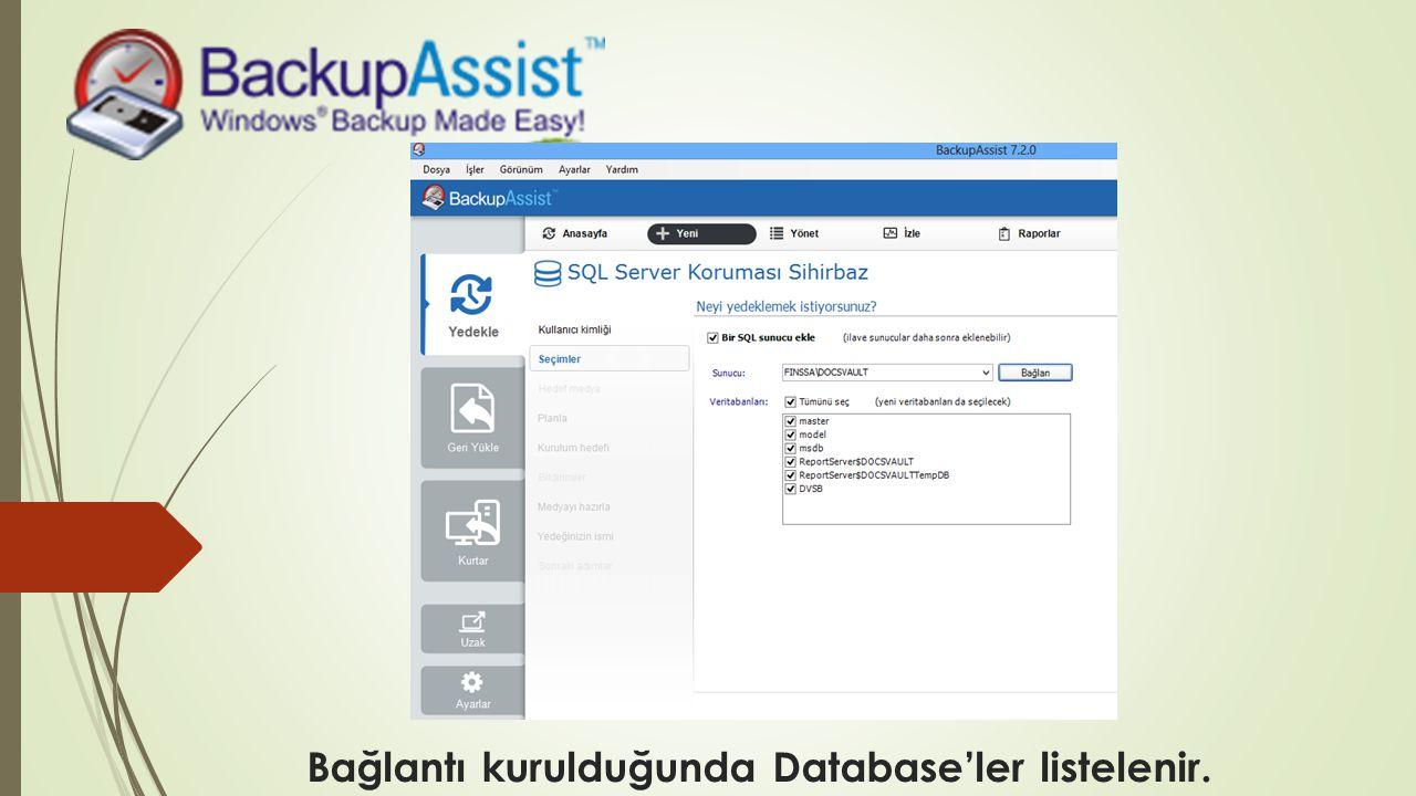 Bağlantı kurulduğunda Database'ler listelenir.