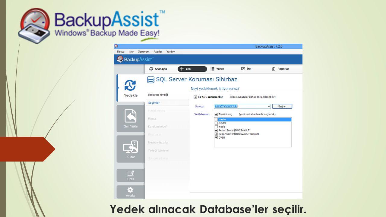 Yedek alınacak Database'ler seçilir.