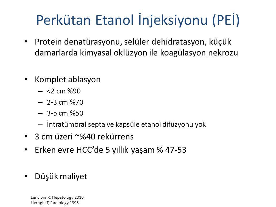 Perkütan Etanol İnjeksiyonu (PEİ) Protein denatürasyonu, selüler dehidratasyon, küçük damarlarda kimyasal oklüzyon ile koagülasyon nekrozu Komplet abl