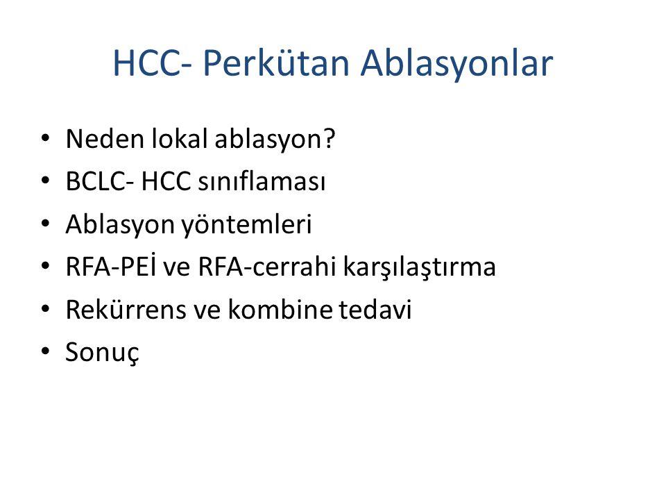 HCC- Perkütan Ablasyonlar Neden lokal ablasyon? BCLC- HCC sınıflaması Ablasyon yöntemleri RFA-PEİ ve RFA-cerrahi karşılaştırma Rekürrens ve kombine te