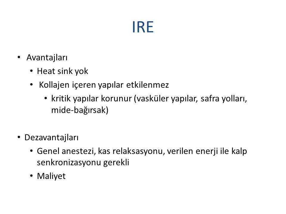 IRE Avantajları Heat sink yok Kollajen içeren yapılar etkilenmez kritik yapılar korunur (vasküler yapılar, safra yolları, mide-bağırsak) Dezavantajlar