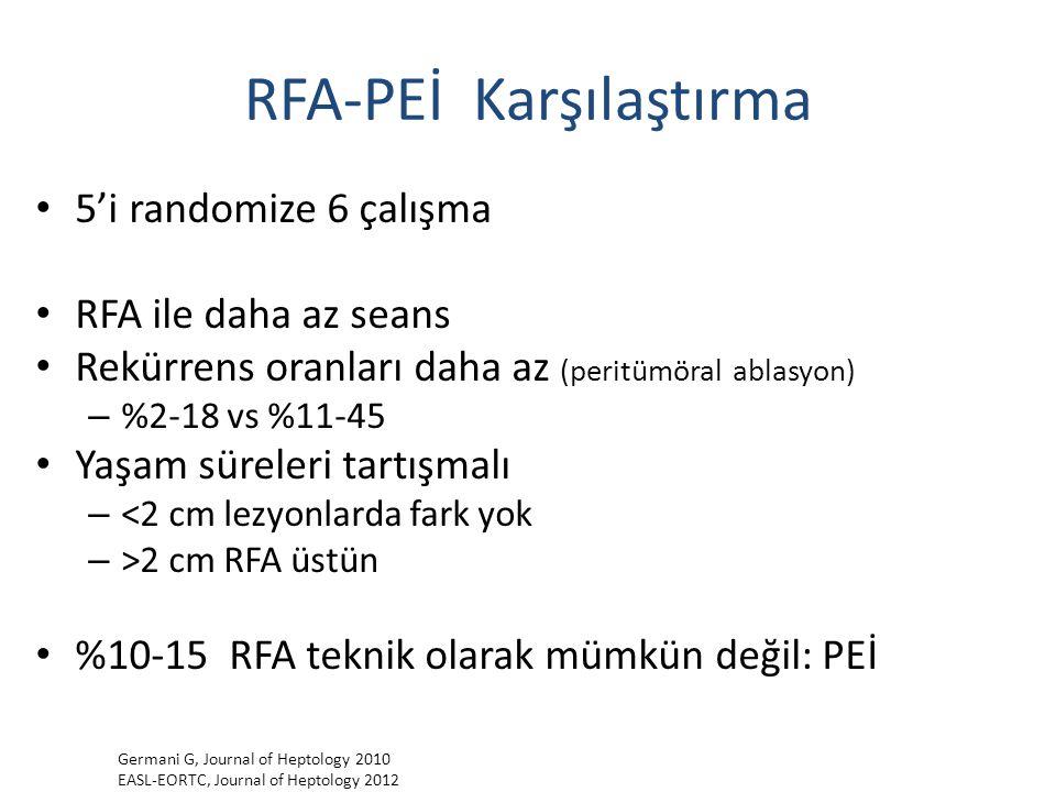 RFA-PEİ Karşılaştırma 5'i randomize 6 çalışma RFA ile daha az seans Rekürrens oranları daha az (peritümöral ablasyon) – %2-18 vs %11-45 Yaşam süreleri