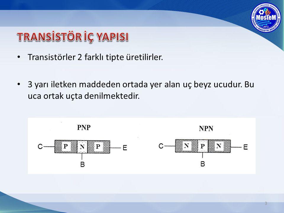Transistörler 2 farklı tipte üretilirler. 3 yarı iletken maddeden ortada yer alan uç beyz ucudur. Bu uca ortak uçta denilmektedir. 3