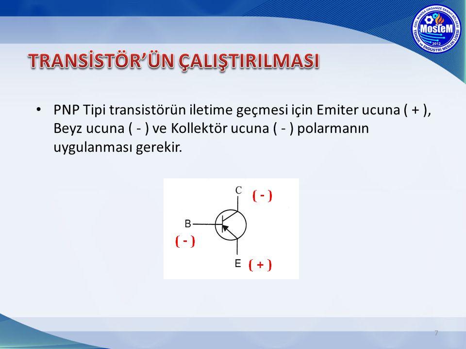 7 PNP Tipi transistörün iletime geçmesi için Emiter ucuna ( + ), Beyz ucuna ( - ) ve Kollektör ucuna ( - ) polarmanın uygulanması gerekir.