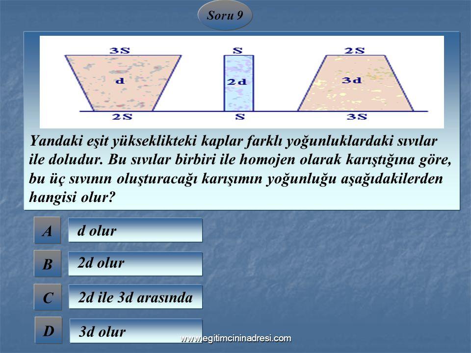 Soru 9 Yandaki eşit yükseklikteki kaplar farklı yoğunluklardaki sıvılar ile doludur. Bu sıvılar birbiri ile homojen olarak karıştığına göre, bu üç sıv