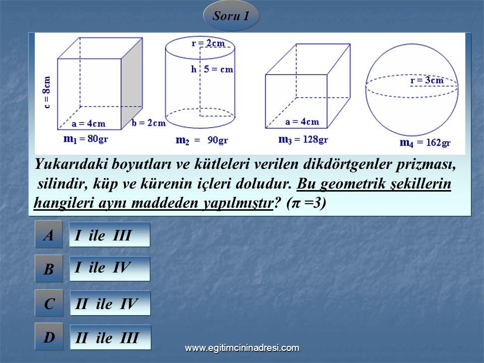 A B C D Soru 1 I ile III I ile IV II ile IV II ile III Yukarıdaki boyutları ve kütleleri verilen dikdörtgenler prizması, silindir, küp ve kürenin içle