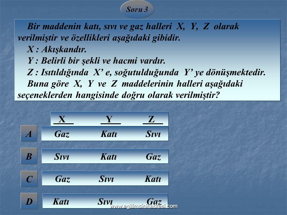 A B C D Soru 3 Gaz Katı Sıvı Sıvı Katı Gaz Gaz Sıvı Katı Katı Sıvı Gaz Bir maddenin katı, sıvı ve gaz halleri X, Y, Z olarak verilmiştir ve özellikler