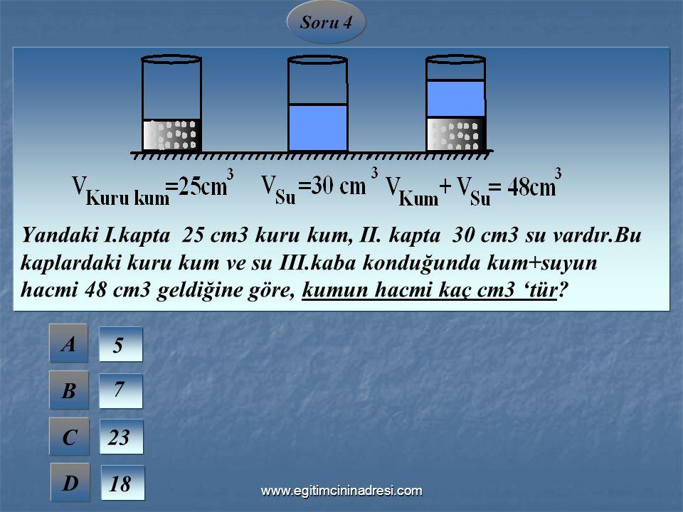 Soru 4 Yandaki I.kapta 25 cm3 kuru kum, II. kapta 30 cm3 su vardır.Bu kaplardaki kuru kum ve su III.kaba konduğunda kum+suyun hacmi 48 cm3 geldiğine g