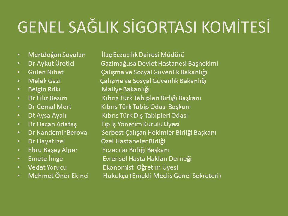 GENEL SAĞLIK SİGORTASI KOMİTESİ Mertdoğan Soyalan İlaç Eczacılık Dairesi Müdürü Dr Aykut Üretici Gazimağusa Devlet Hastanesi Başhekimi Gülen Nihat Çal