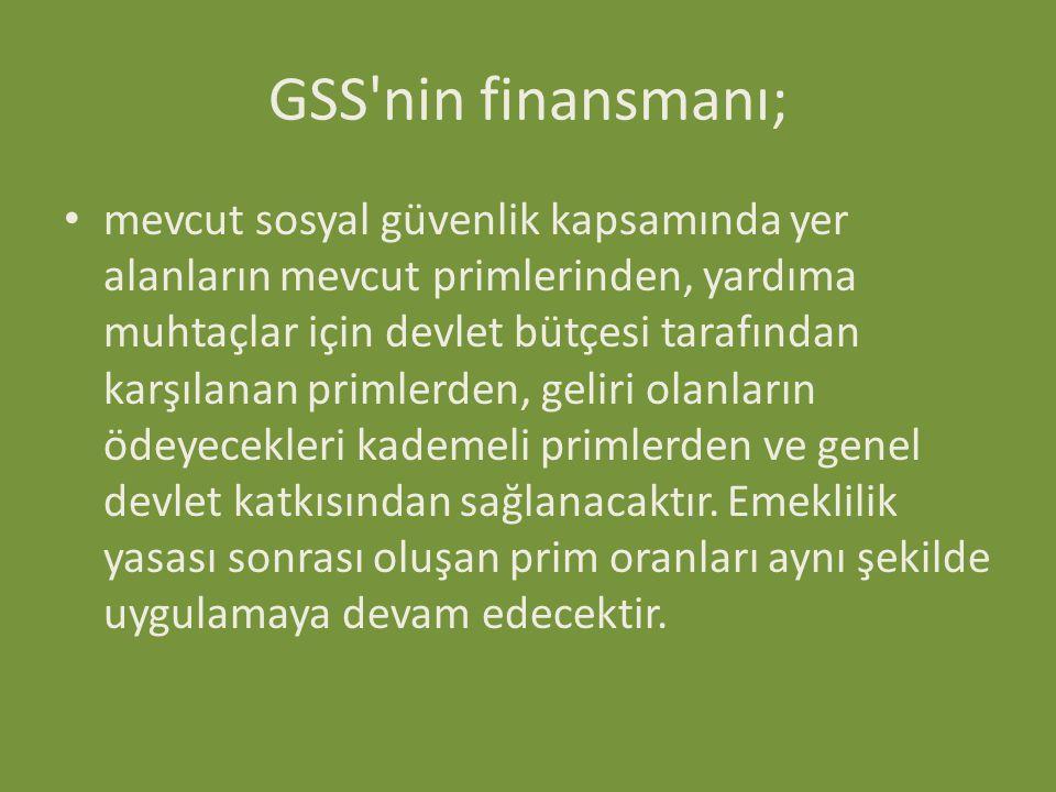 GSS'nin finansmanı; mevcut sosyal güvenlik kapsamında yer alanların mevcut primlerinden, yardıma muhtaçlar için devlet bütçesi tarafından karşılanan p