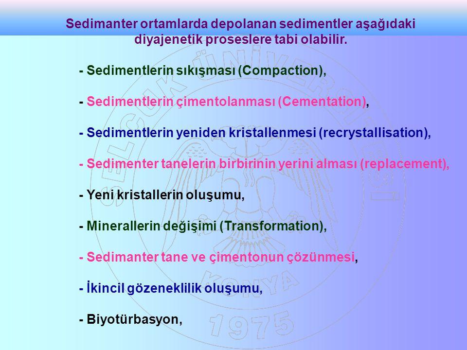Sedimanter ortamlarda depolanan sedimentler aşağıdaki diyajenetik proseslere tabi olabilir.
