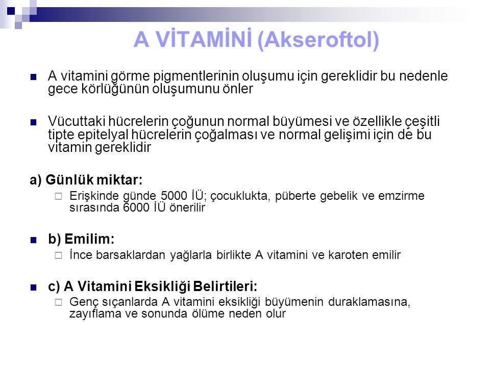 A VİTAMİNİ (Akseroftol) A vitamini görme pigmentlerinin oluşumu için gereklidir bu nedenle gece körlüğünün oluşumunu önler Vücuttaki hücrelerin çoğunu