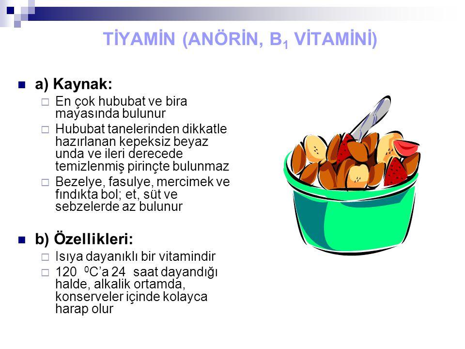 TİYAMİN (ANÖRİN, B 1 VİTAMİNİ) a) Kaynak:  En çok hububat ve bira mayasında bulunur  Hububat tanelerinden dikkatle hazırlanan kepeksiz beyaz unda ve ileri derecede temizlenmiş pirinçte bulunmaz  Bezelye, fasulye, mercimek ve fındıkta bol; et, süt ve sebzelerde az bulunur b) Özellikleri:  Isıya dayanıklı bir vitamindir  120 0 C'a 24 saat dayandığı halde, alkalik ortamda, konserveler içinde kolayca harap olur