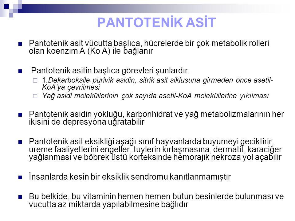 PANTOTENİK ASİT Pantotenik asit vücutta başlıca, hücrelerde bir çok metabolik rolleri olan koenzim A (Ko A) ile bağlanır Pantotenik asitin başlıca görevleri şunlardır:  1.Dekarboksile pürivik asidin, sitrik asit siklusuna girmeden önce asetil- KoA'ya çevrilmesi  Yağ asidi moleküllerinin çok sayıda asetil-KoA moleküllerine yıkılması Pantotenik asidin yokluğu, karbonhidrat ve yağ metabolizmalarının her ikisini de depresyona uğratabilir Pantotenik asit eksikliği aşağı sınıf hayvanlarda büyümeyi geciktirir, üreme faaliyetlerini engeller, tüylerin kırlaşmasına, dermatit, karaciğer yağlanması ve böbrek üstü korteksinde hemorajik nekroza yol açabilir İnsanlarda kesin bir eksiklik sendromu kanıtlanmamıştır Bu belkide, bu vitaminin hemen hemen bütün besinlerde bulunması ve vücutta az miktarda yapılabilmesine bağlıdır