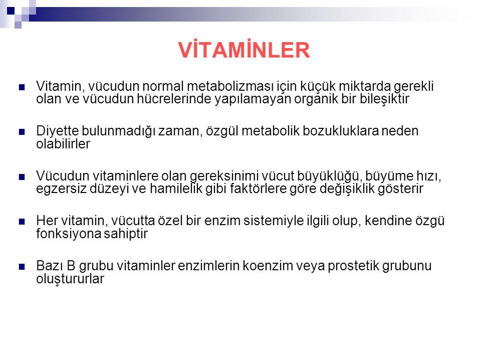 VİTAMİNLER Vitamin, vücudun normal metabolizması için küçük miktarda gerekli olan ve vücudun hücrelerinde yapılamayan organik bir bileşiktir Diyette b