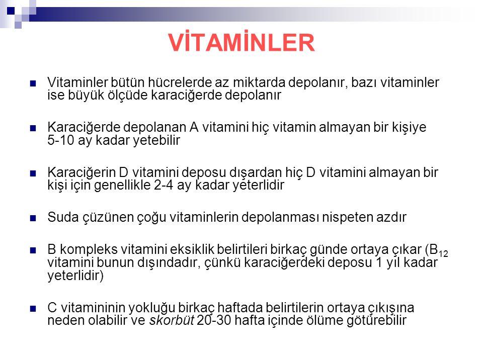VİTAMİNLER Vitaminler bütün hücrelerde az miktarda depolanır, bazı vitaminler ise büyük ölçüde karaciğerde depolanır Karaciğerde depolanan A vitamini hiç vitamin almayan bir kişiye 5-10 ay kadar yetebilir Karaciğerin D vitamini deposu dışardan hiç D vitamini almayan bir kişi için genellikle 2-4 ay kadar yeterlidir Suda çüzünen çoğu vitaminlerin depolanması nispeten azdır B kompleks vitamini eksiklik belirtileri birkaç günde ortaya çıkar (B 12 vitamini bunun dışındadır, çünkü karaciğerdeki deposu 1 yıl kadar yeterlidir) C vitamininin yokluğu birkaç haftada belirtilerin ortaya çıkışına neden olabilir ve skorbüt 20-30 hafta içinde ölüme götürebilir