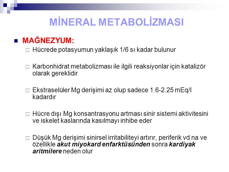 MİNERAL METABOLİZMASI MAĞNEZYUM:  Hücrede potasyumun yaklaşık 1/6 sı kadar bulunur  Karbonhidrat metabolizması ile ilgili reaksiyonlar için katalizö