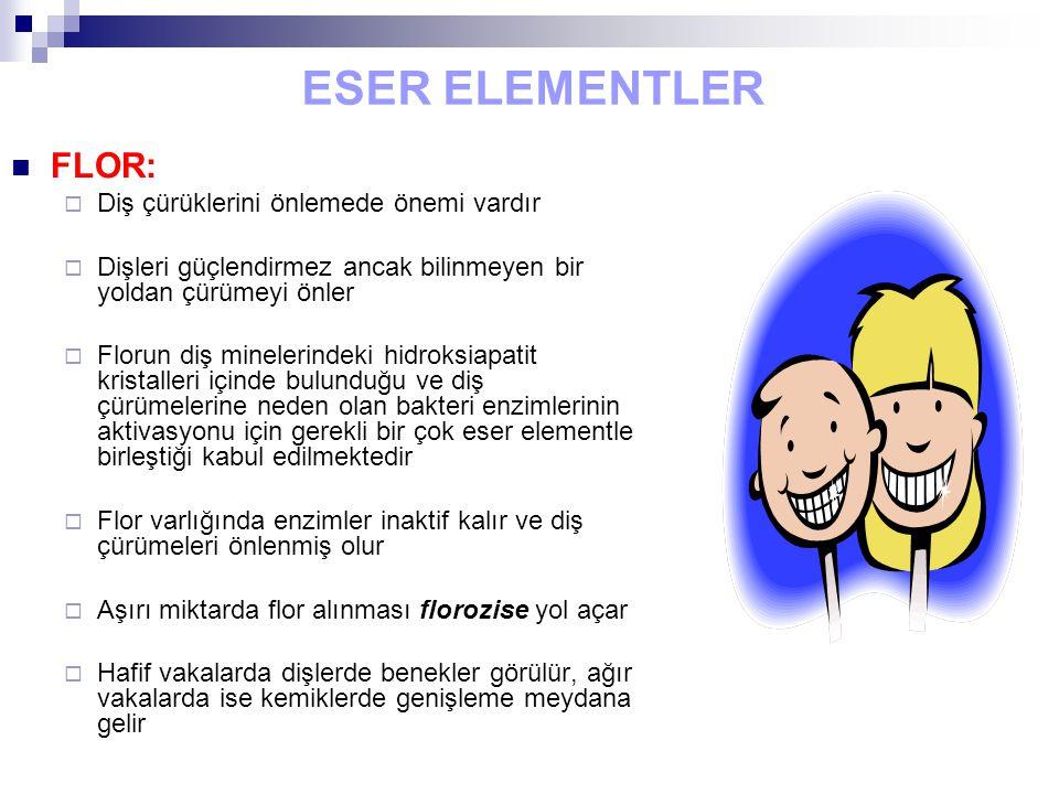 ESER ELEMENTLER FLOR:  Diş çürüklerini önlemede önemi vardır  Dişleri güçlendirmez ancak bilinmeyen bir yoldan çürümeyi önler  Florun diş minelerindeki hidroksiapatit kristalleri içinde bulunduğu ve diş çürümelerine neden olan bakteri enzimlerinin aktivasyonu için gerekli bir çok eser elementle birleştiği kabul edilmektedir  Flor varlığında enzimler inaktif kalır ve diş çürümeleri önlenmiş olur  Aşırı miktarda flor alınması florozise yol açar  Hafif vakalarda dişlerde benekler görülür, ağır vakalarda ise kemiklerde genişleme meydana gelir