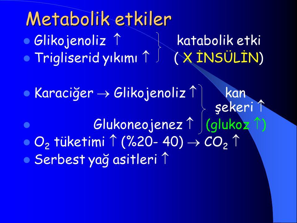 Metabolik etkiler Glikojenoliz  katabolik etki Trigliserid yıkımı  ( X İNSÜLİN) Karaciğer  Glikojenoliz  kan şekeri  Glukoneojenez  (glukoz  ) O 2 tüketimi  (%20- 40)  CO 2  Serbest yağ asitleri 