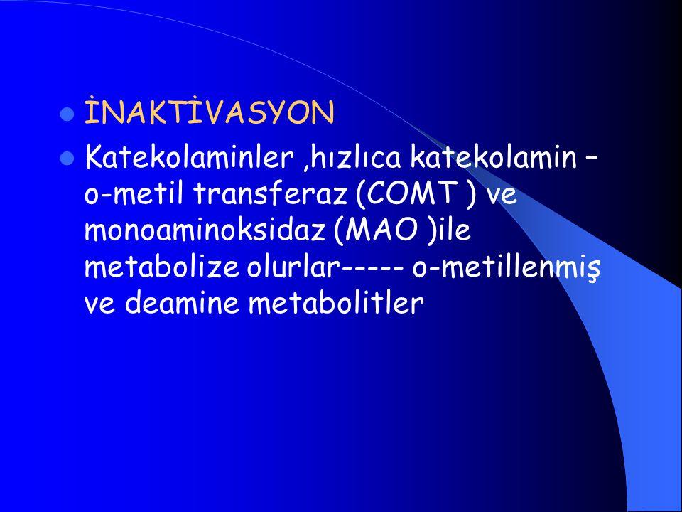 İNAKTİVASYON Katekolaminler,hızlıca katekolamin – o-metil transferaz (COMT ) ve monoaminoksidaz (MAO )ile metabolize olurlar----- o-metillenmiş ve deamine metabolitler