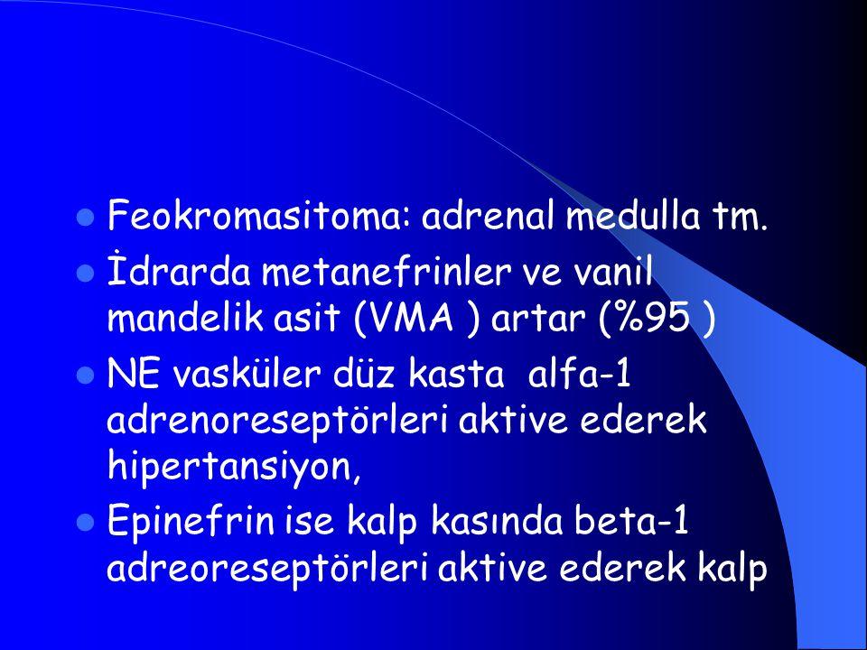 Feokromasitoma: adrenal medulla tm. İdrarda metanefrinler ve vanil mandelik asit (VMA ) artar (%95 ) NE vasküler düz kasta alfa-1 adrenoreseptörleri a