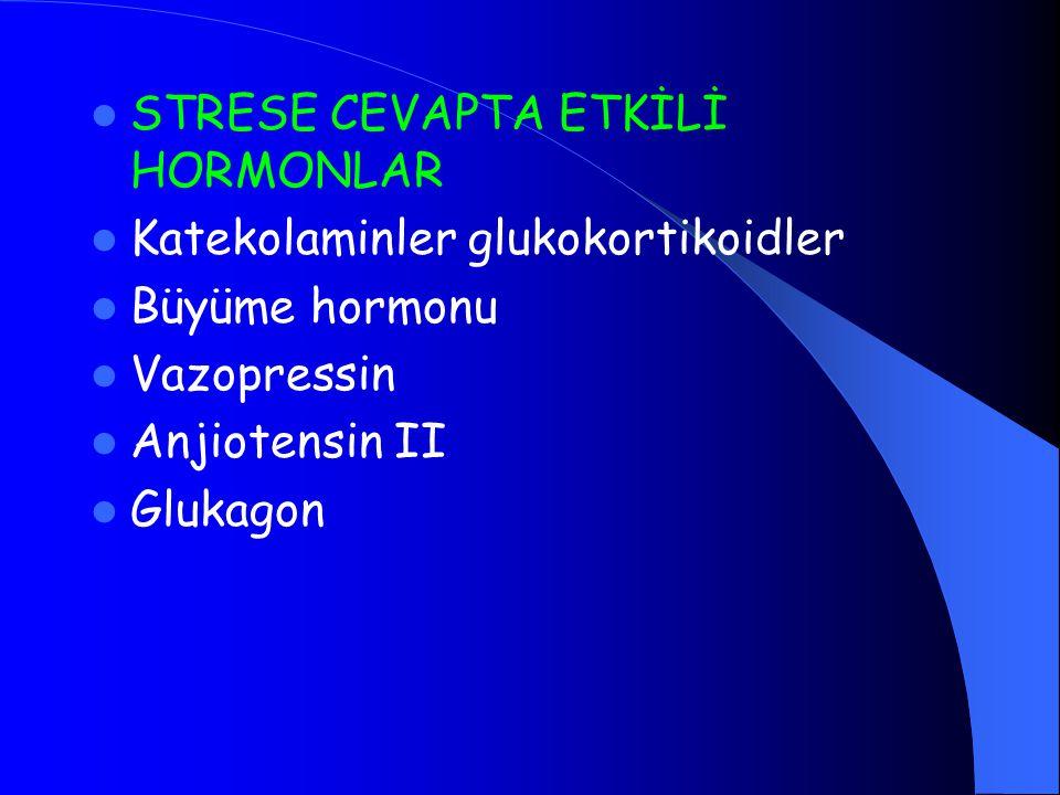 STRESE CEVAPTA ETKİLİ HORMONLAR Katekolaminler glukokortikoidler Büyüme hormonu Vazopressin Anjiotensin II Glukagon