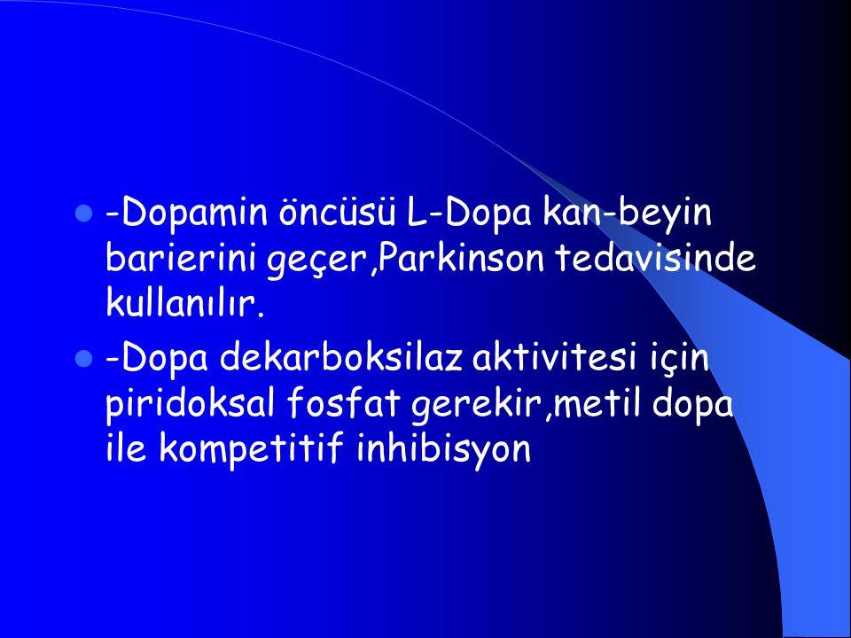 -Dopamin öncüsü L-Dopa kan-beyin barierini geçer,Parkinson tedavisinde kullanılır. -Dopa dekarboksilaz aktivitesi için piridoksal fosfat gerekir,metil
