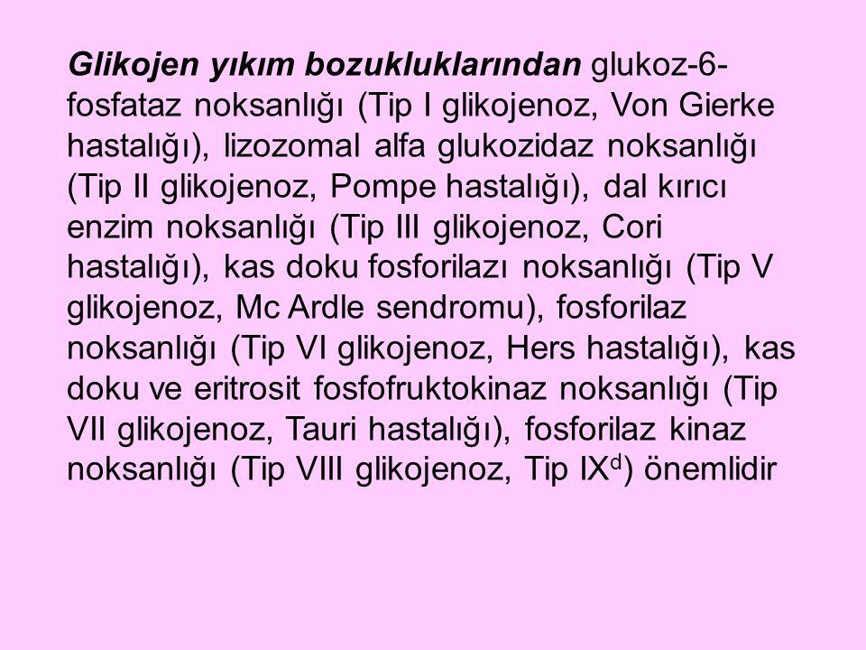 Glikojen yıkım bozukluklarından glukoz-6- fosfataz noksanlığı (Tip I glikojenoz, Von Gierke hastalığı), lizozomal alfa glukozidaz noksanlığı (Tip II g
