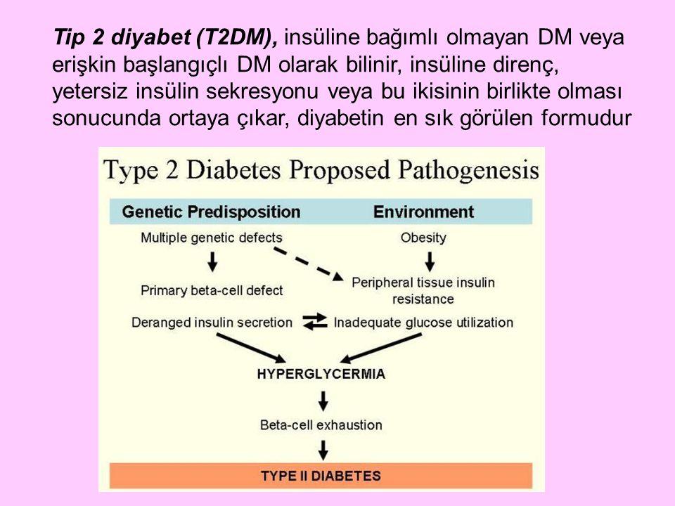 Tip 2 diyabet (T2DM), insüline bağımlı olmayan DM veya erişkin başlangıçlı DM olarak bilinir, insüline direnç, yetersiz insülin sekresyonu veya bu iki