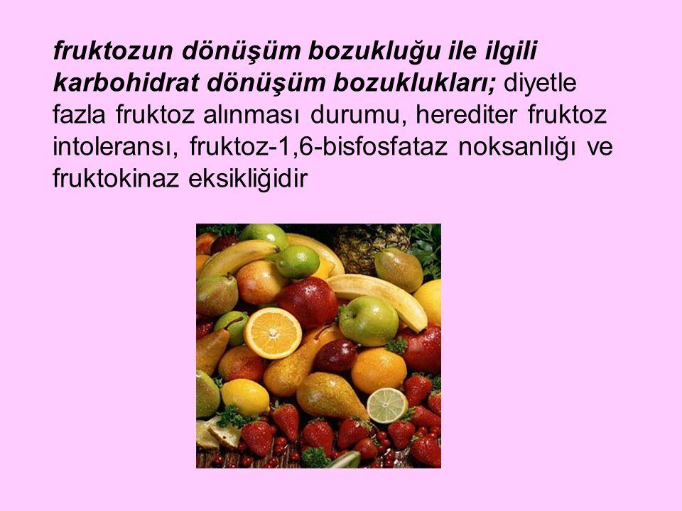 fruktozun dönüşüm bozukluğu ile ilgili karbohidrat dönüşüm bozuklukları; diyetle fazla fruktoz alınması durumu, herediter fruktoz intoleransı, fruktoz