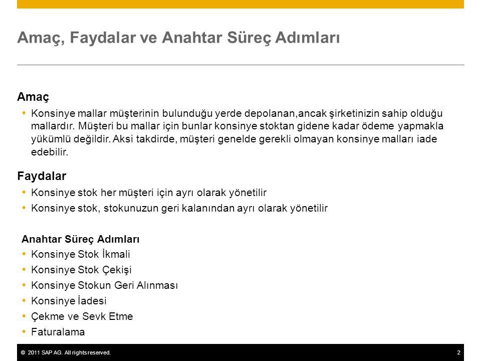 ©2011 SAP AG. All rights reserved.2 Amaç, Faydalar ve Anahtar Süreç Adımları Amaç  Konsinye mallar müşterinin bulunduğu yerde depolanan,ancak şirketi