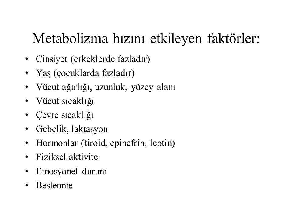 Metabolizma hızını etkileyen faktörler: Cinsiyet (erkeklerde fazladır) Yaş (çocuklarda fazladır) Vücut ağırlığı, uzunluk, yüzey alanı Vücut sıcaklığı