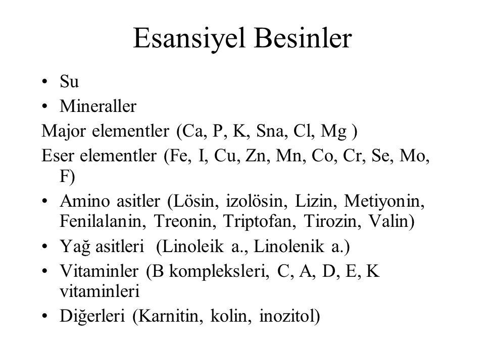 Esansiyel Besinler Su Mineraller Major elementler (Ca, P, K, Sna, Cl, Mg ) Eser elementler (Fe, I, Cu, Zn, Mn, Co, Cr, Se, Mo, F) Amino asitler (Lösin