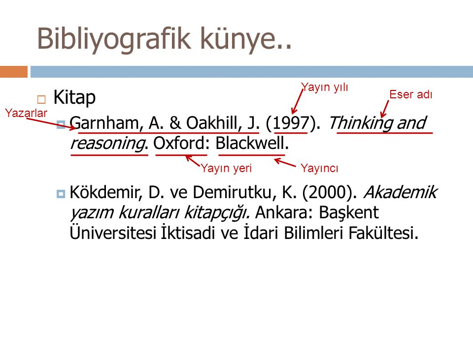 Bibliyografik künye..  Kitap  Garnham, A. & Oakhill, J. (1997). Thinking and reasoning. Oxford: Blackwell.  Kökdemir, D. ve Demirutku, K. (2000). A