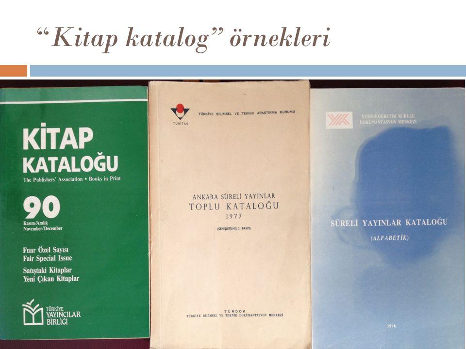 """Kitap katalog"" örnekleri"