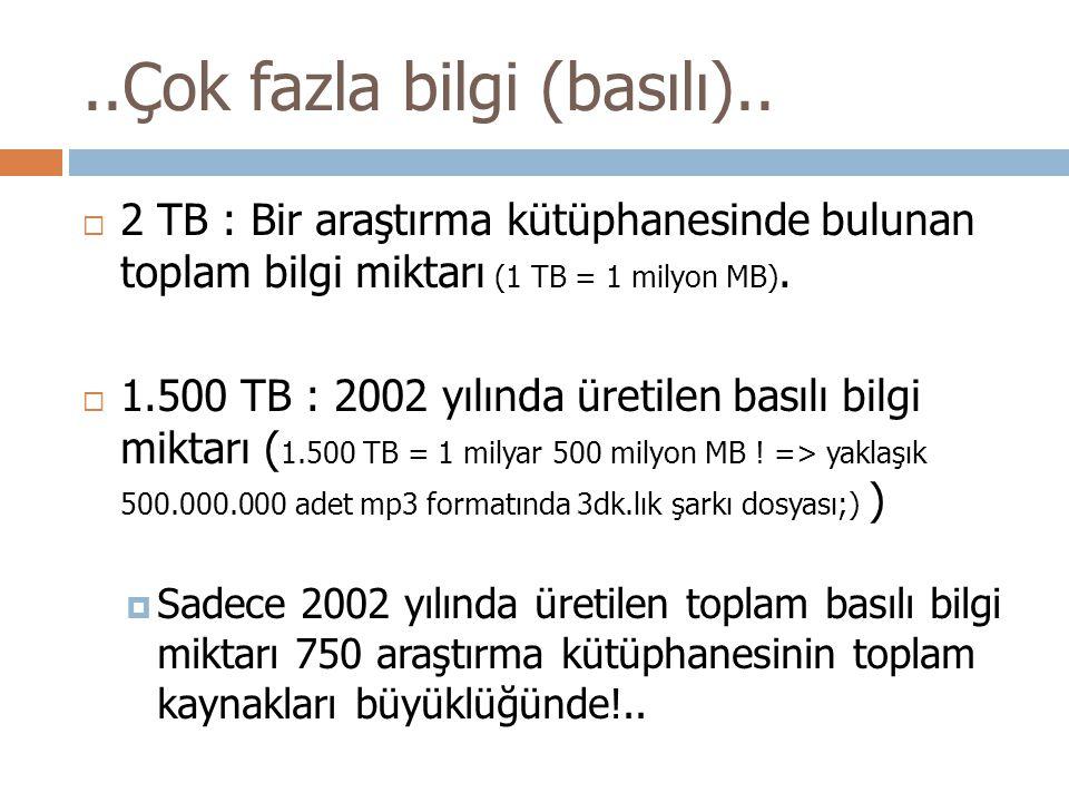 ..Çok fazla bilgi (basılı)..  2 TB : Bir araştırma kütüphanesinde bulunan toplam bilgi miktarı (1 TB = 1 milyon MB).  1.500 TB : 2002 yılında üretil