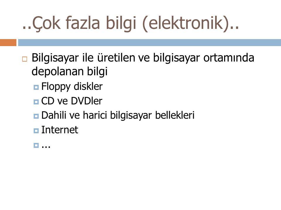..Çok fazla bilgi (elektronik)..  Bilgisayar ile üretilen ve bilgisayar ortamında depolanan bilgi  Floppy diskler  CD ve DVDler  Dahili ve harici