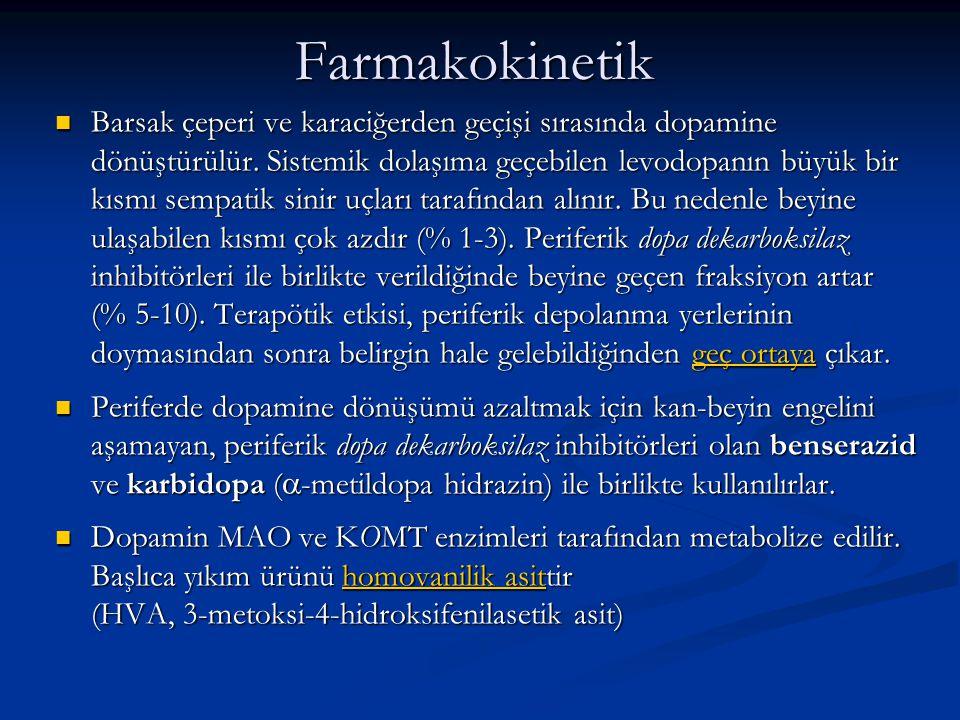 Farmakokinetik Barsak çeperi ve karaciğerden geçişi sırasında dopamine dönüştürülür. Sistemik dolaşıma geçebilen levodopanın büyük bir kısmı sempatik