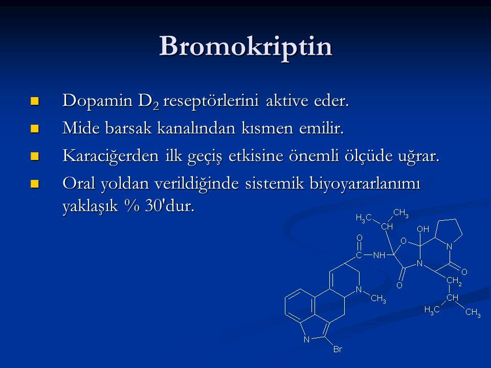 Bromokriptin Dopamin D 2 reseptörlerini aktive eder. Dopamin D 2 reseptörlerini aktive eder. Mide barsak kanalından kısmen emilir. Mide barsak kanalın
