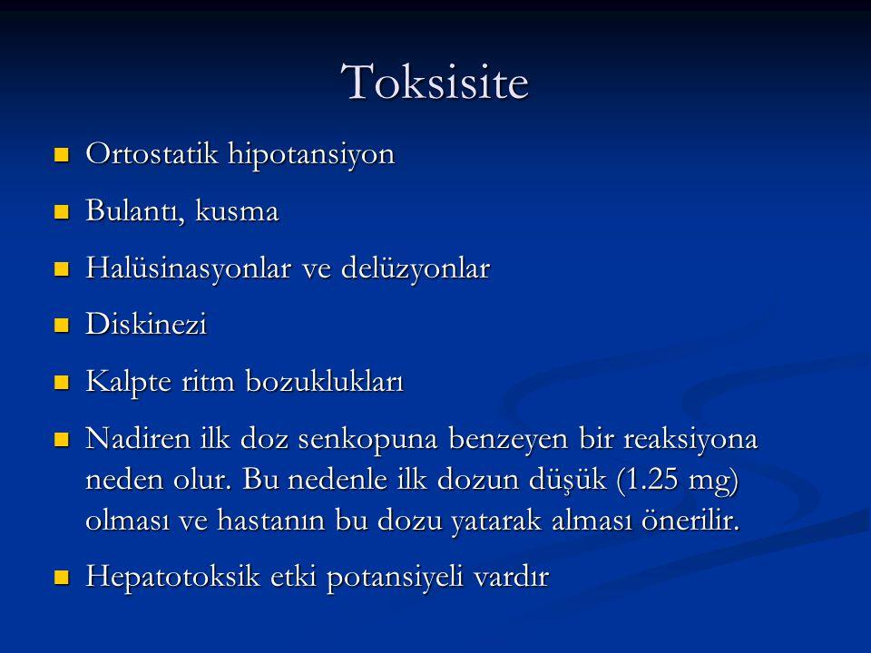 Toksisite Ortostatik hipotansiyon Ortostatik hipotansiyon Bulantı, kusma Bulantı, kusma Halüsinasyonlar ve delüzyonlar Halüsinasyonlar ve delüzyonlar