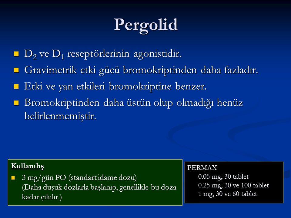Pergolid D 2 ve D 1 reseptörlerinin agonistidir. D 2 ve D 1 reseptörlerinin agonistidir. Gravimetrik etki gücü bromokriptinden daha fazladır. Gravimet