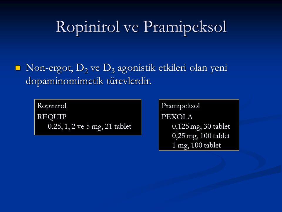 Ropinirol ve Pramipeksol Non-ergot, D 2 ve D 3 agonistik etkileri olan yeni dopaminomimetik türevlerdir. Non-ergot, D 2 ve D 3 agonistik etkileri olan